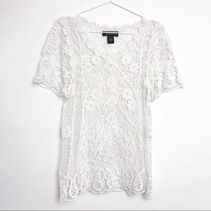 Karen Kane White Crochet Short Sleeve Top-XS